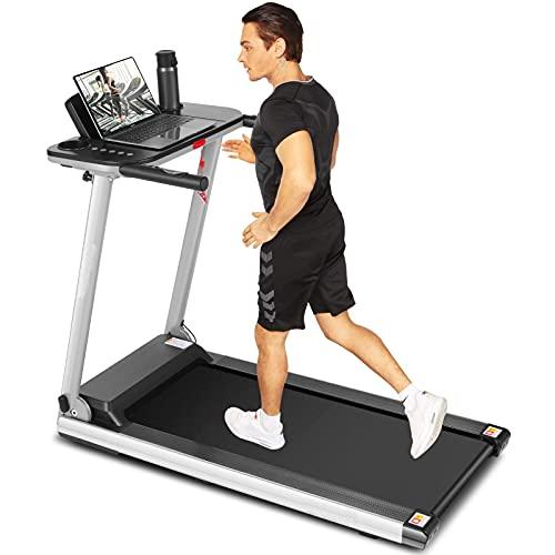 ANCHEER Faltbares Laufband AM00939, tragbare Laufbänder mit großem Schreibtisch und Bluetooth-Lautsprecher, 265 LB Laufband mit maximalem Gewicht für den Heim-Fitness-Studio-Cardio-Einsatz