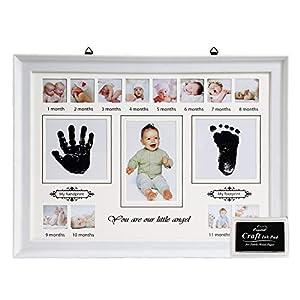 LEADSTAR Kit de Marco Para Manos y Huellas de Bebé para Niño y Niña, Handprint y Marco de Huella con Marcos de Fotos de 12 Meses Recuerdo Memorable, Ideal Decoración para Regalo Bebe Recien Nacido