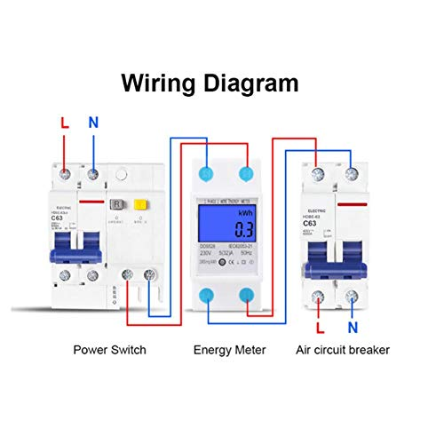 デジタル電力計電圧メーターLCDエネルギーメーター5-32A230V50Hzデジタルバックライトスクリーンワットメーター単相DINレール取り付けKWhメーターDDS528