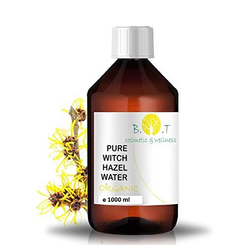 Organische Hydrolat Toverhazelaar - Hamamelis water 1000 ml Bloemenwater 100% Pure Alcoholvrij Poriënreiniger Vette huid Toner Gezicht Make-up Remover Blemish Acne natuurlijke reiniger en toner