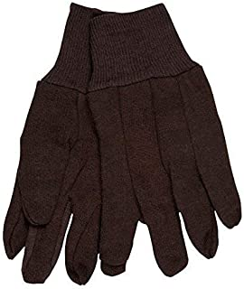(12 Pair) Memphis 7100P Brown Jersey Work Gloves All Cotton, Size Large