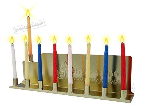 Body-Soul-n-Spirit Hanukkah HAPPY Chanoeka Menorah Joods heilig geschenk Tin Kandelaar Kosher verlichting kaarsen