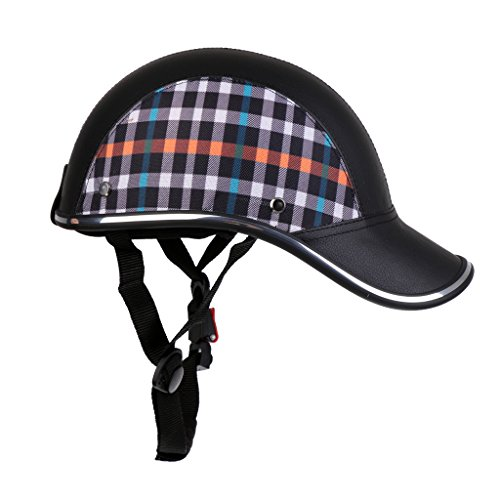 Homyl Motorradhelm Sommer Baseball Cap Schutzhelme Tropenhelm Fahrradhelm für Damen Herren - Schwarz mit Muster