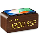 MOSITO Digital Wooden Alarm Clock with Wireless Charging, 0-100% Dimmer, Dual Alarm, Weekday /Weekend Mode, Snooze, Wood LED Clocks for Bedroom, Bedside, Desk, Kids (Brown)