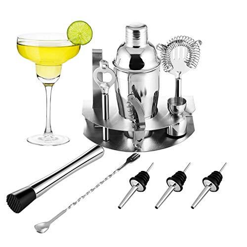 OCDAY Cocktailshaker Set, Premium 12-teiliges Edelstahl Cocktail-Set: Professioneller 550ML Cocktail Shaker/Martinishaker/Mixer mit Sieb/Messbecher/Barlöffel/Gabel/Barstößel
