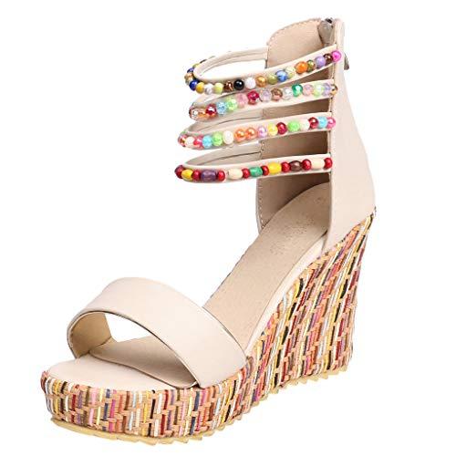 MOTOCO Damen Sandalen mit Keilabsatz Fashion Bohemia Damen Flats Open Toe Wedges Zipper Dicker Boden Schuhe Bequeme römische Sandalen(Beige,35.5 EU)
