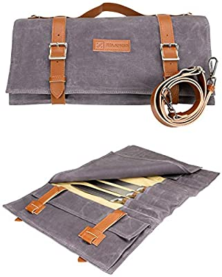 Waxed Canvas Knife Roll Bag - Zelancio Knife Roll Bag with 9 Knife Slots and 4 Additional Pockets for Additional Tools and Accessories, Ultra Portable and Safe/Fits All Knife Sets from Zelancio