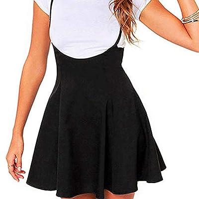 CHICFOR Womens Suspender Skirts Skirts High Waist Flared Skater Skirt