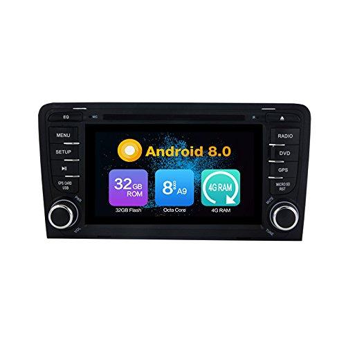 Octa Core 4G RAM Android 9.0 Auto DVD GPS Navigation Lecteur multimédia stéréo de Voiture Autoradio pour Audi A3 2003-2013 Audi S3 2003-2011 Radio Commande au Volant avec 3G WiFi Bluetooth 8g SD