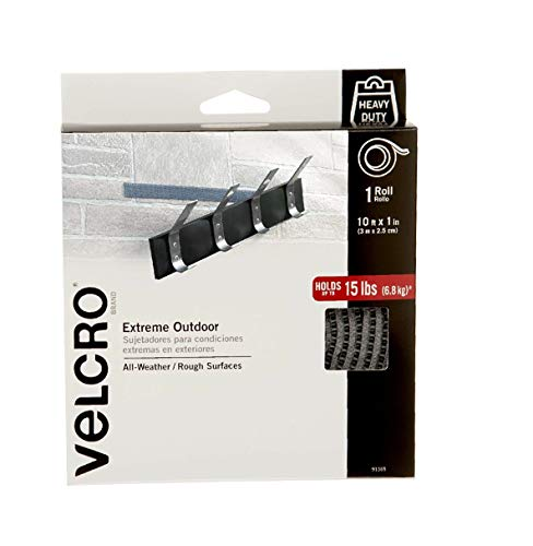 VELCRO Brand Extreme Outdoor Heavy Duty Tape | 10Ft x 1 In | Holds 15 lbs | Titanium, Industrial Strength Adhesive Back Rolls | Strong Weather Resistant for Brick, Concrete (91365)