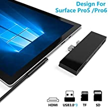 【Upgraded Version】 Surface Pro 5 /Pro 6 Docking Station, Ketaky 6 in 1 Surface Pro Hub, SD/TF(Micro SD) Memory Card Solt + 3X USB 3.0 Ports (5Gps) + 4K HDMI Combo Surface Pro Adapter