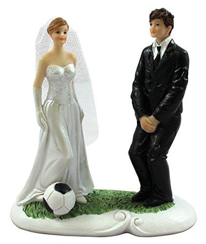 Preis am Stiel 1 x Dekofigur - Brautpaar Mr & Mrs ''Fußball'' | Hochzeitsdeko