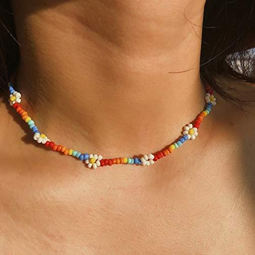 Jovono Boho Halsketten mit farbigen Perlen Blumen für Frauen und Mädchen