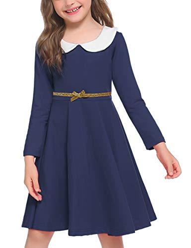 Arshiner Little Girls Dresses Long Sleeve Doll Collar Swing Party Dress Navy Blue
