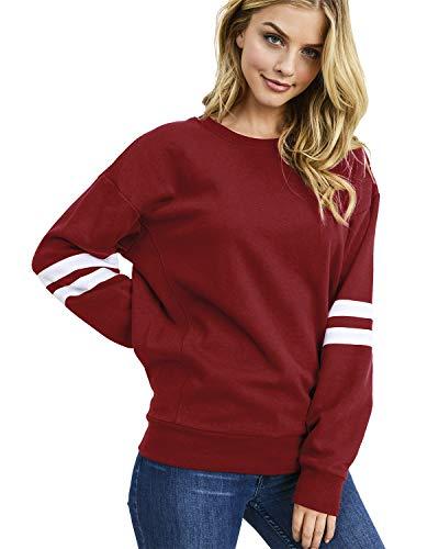 Damen Sweatshirt Pullover Casual Langarmshirt Hoodie Rundhals Kaputzenpullis Oversize Streifen Shirt Oberteil Tops(pu,m)