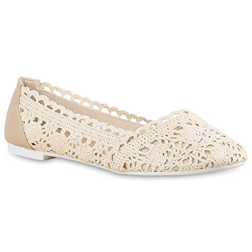 stiefelparadies Damen Ballerinas Spitze Schleifen Flats Vintage Slipper Ballerina Sommer Schuhe 137530 Creme Strick 39 Flandell