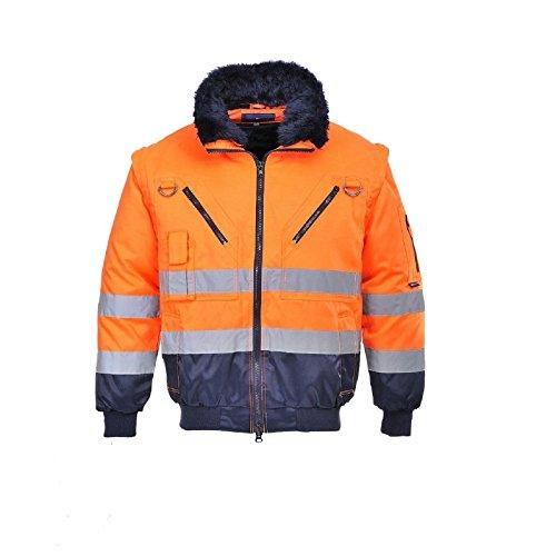 Portwest Warnschutzjacke 4-in-1 Funktion Arbeitsjacke Winterjacke, Warnschutz, gelb/orange-Marine (M, orange/Marine),