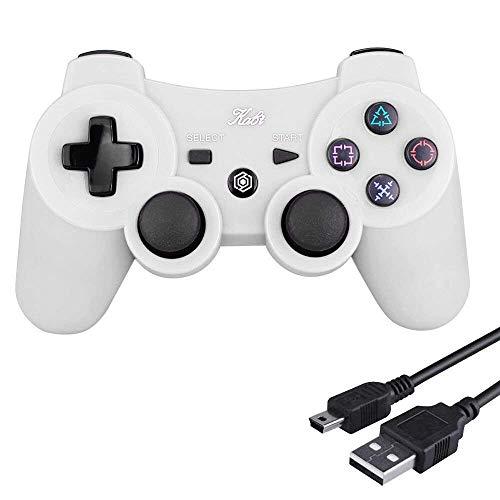 Kabi Manette Ps3 Dualshock 3 sansavec Fil Double Vibration 6 Axes(Sixaxis)pour Playstation 3 Bonus Câble de Charge Libre, Wireless Controller pour PS3 Manette (Blanc)