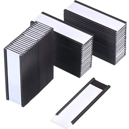 Magnetic Label Holders Labels with Magnets Magnetic Data Cardholders with Protective Films Replacement Strips for Shelf Bin (3 x 1 Inch, 60)