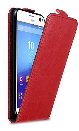 Cadorabo Hülle für Sony Xperia C4 in Apfel ROT - Handyhülle im Flip Design mit Magnetverschluss - Hülle Cover Schutzhülle Etui Tasche Book Klapp Style