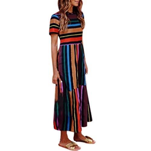 SMILEQ Jurk Vrouwen Sundress Boho Hippie Shirt Dames Retro Regenboog Print Bal Jurk Losse Midi Jurken