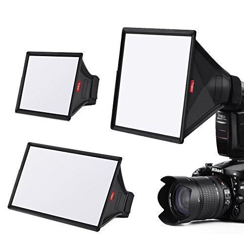TYCKA Blitzlicht Softbox Diffusor Kit (universal, zusammenklappbar) enthalten 6x5 Zoll, 9 x 7 Zoll, 13 x 8 Zoll für Nikon, Canon, Sony, Yongnuo und andere DSLR Flash