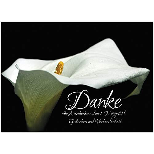 Trauer Danksagungskarten mit Umschlag   Motiv: Calla, 15 Stück   Dankeskarten DIN A6 Set   Trauerkarten Danksagung Danke sagen