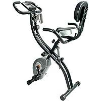 ATIVAFIT Bicicleta Estática Plegable Magnética, Bicicleta de Entrenamiento con Respaldo, Bandas de Resistencia, Correas para Pies, 8 Niveles, Pantalla LCD, Sensor de Pulso