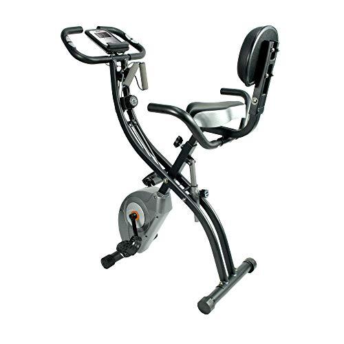 ATIVAFIT Fitness Bike 4in1 Heimtrainer mit Rückenlehne & integriertem Seilsystem - einzigartiges Zugbandsystem Handpulssensoren Ergometer- Faltbares Fitness Fahrrad Trainingsgerät klappbar