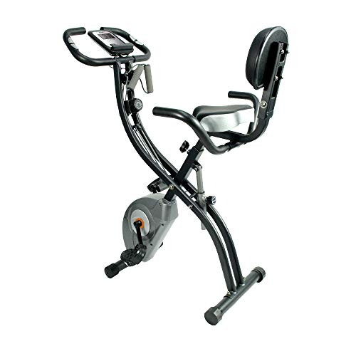 ATIVAFIT Stationary Exercise Bike Magnetic Upright Bike Monitor with Phone Holder, High Backrest, Adjustable Resistance Band for Arm & Leg