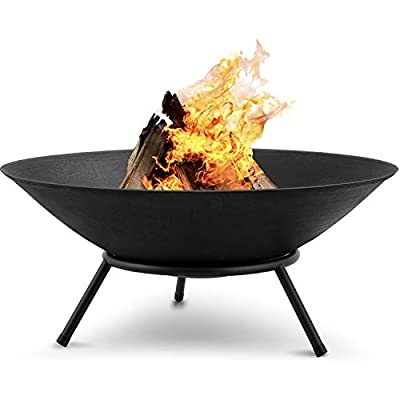 Amagabeli Fire Pits for Garden 27.5inch Premium Steel Extra Large Fire Bowl Outdoor Fire Brazier for Garden BBQ Patio Heater Camping Portable Fire Basket Chimney Log Burning Bowl Wood Bonfire Bowl from Amagabeli Garden Home