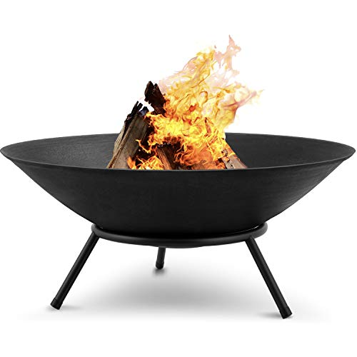 Amagabeli Fire Pits for Garden 27.5inch Premium Steel Extra Large Fire Bowl Outdoor Fire Brazier for Garden BBQ Patio Heater Camping Portable Fire Basket Chimney Log Burning Bowl Wood Bonfire Bowl
