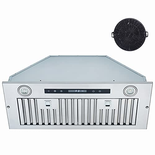 Insert Range hood 30inch,EVERKITCH,built in Stainless Steel stove hood with 800CFM, Baffle filter, kitchen fan hood with 4 speeds touch control
