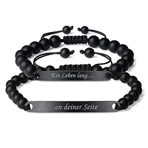coai Geschenkideen Partner Armband EIN Leben lang und An deiner Seite Gravur Distance Bracelet aus Matt Onyx und Edelstahl