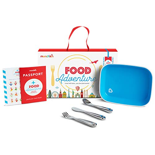 Munchkin Food Adventure Splash Toddler Dining Set, Includes Plate and Stainless Steel Utensils, Blue