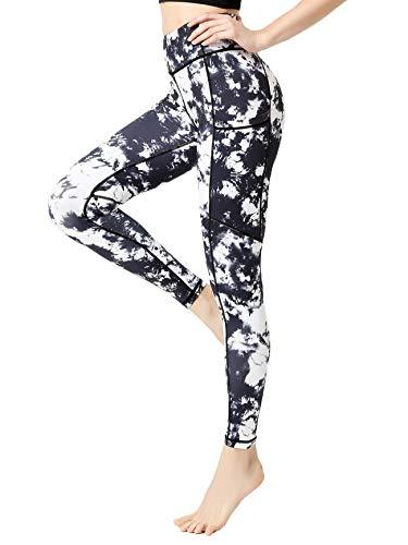 FLYILY Kvinnor yogabyxor tryckta hög midja kraft flex capris träning leggings för fitness...