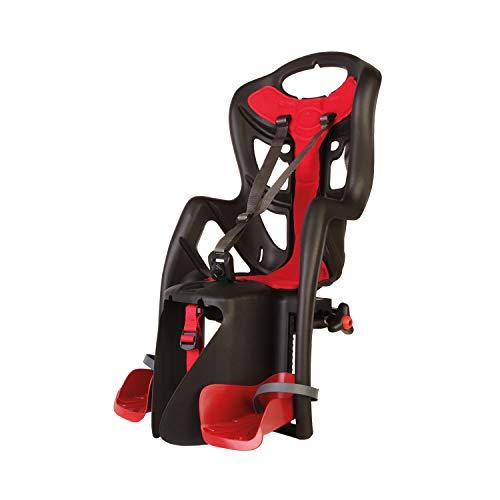b bellelli Pepe - Seggiolino Posteriore per Bicicletta - per Bambini Fino a 22 kg, da 3 a 8 Anni - Si Fissa al Portapacchi - Nero e Rosso