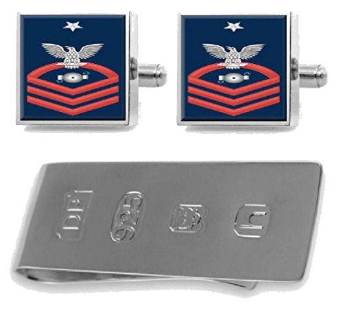 Select Gifts スターリングシルバー カフスボタン マネークリップ 米国海軍 上級 赤 E-8 ボイラー 技術者 BT