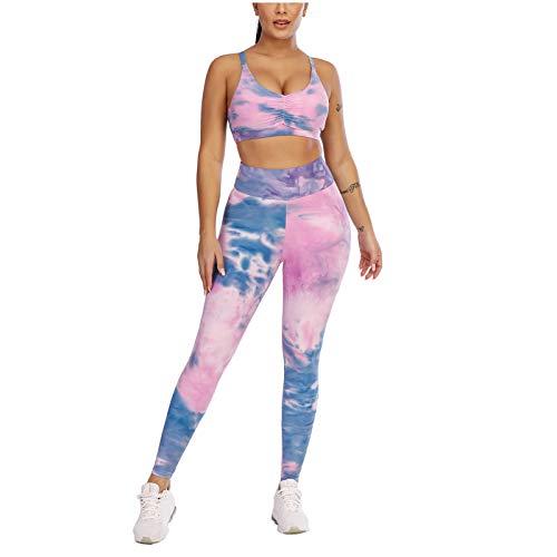 Lenfeshing Conjuntos de Entrenamiento para Mujer Trajes de 2 Piezas Leggings de Yoga de Cintura Alta y Chaleco Corto Deportivo Ropa de Gimnasio
