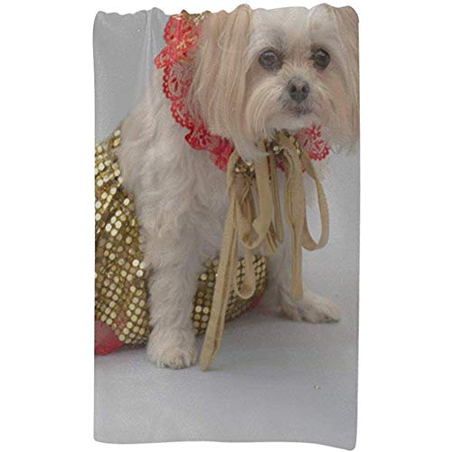 Mädchen Strandtuch Weiß Malteser Shitzu Hund Gekleidet Weihnachten Benutzerdefinierte Mikrofaser Große Druck Sport Handtuch Für Frauen