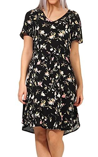 VERO MODA Damen Viskose Kleid VMSimply Easy V-Neck mit Blumen-Muster 10245143 Black/oline S