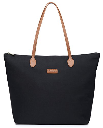 NNEE Water Resistant Light Weight Nylon Tote Bag Handbag - Medium Size, Black