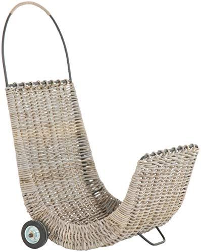 korb.outlet Chariot à bûches en rotin naturel - Chariot à bois avec roulettes pour bois de chauffage avec cadre en fer (gris naturel)
