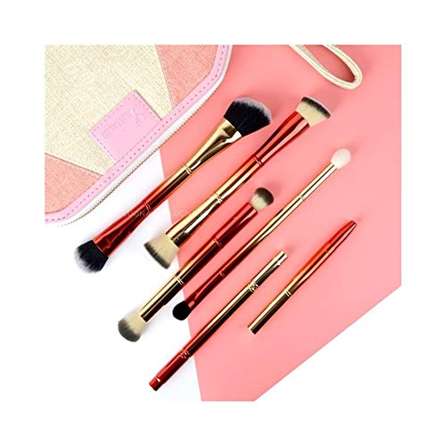 Pinceaux de Maquillage Premium Gradient Couleur 6 Ensembles Multi-Fonctions Brosse Maquillage Pinceau Poudre Libre Blush Fondation Pinceau Maquillage Outils Maquillage Pinceau (Color : Gold Red)