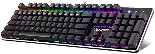 NPET K20 Mechanical Gaming Keyboard, RGB LED Backlit Gaming Keyboard, Wired Ergonomic Computer Keyboard with Red Switches, for PC Gamer Windows Gaming (104 Keys, Black)