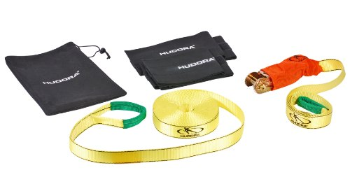 HUDORA Slackline Set mit Baumschutz - Balancierseil - 76656