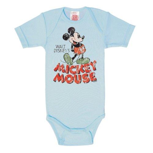 Logoshirt–Disney Mickey Mouse Nombre Body para bebé, Light Blue, 50/56