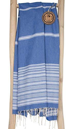 ZusenZomer Fouta Toalla Turca XXL Biarritz 100x190 cm - 100% Algodón – Toalla Hammam Ideal para Playa Baño Sauna - Diseño Exclusivo (Azúl y Blanco)