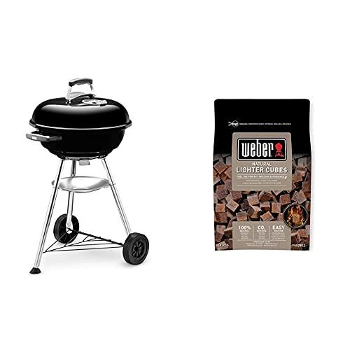 Weber 1221004 Compact Kettle Barbecue compatto, 47 cm, Nero & 17612 Cubetti accendifuoco 48 pastiglie sul marrone