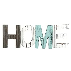 MyGift Rustic Teal, Brown and White Wood Home Decorative Mantel Sign, Standing Cutout Word Decor